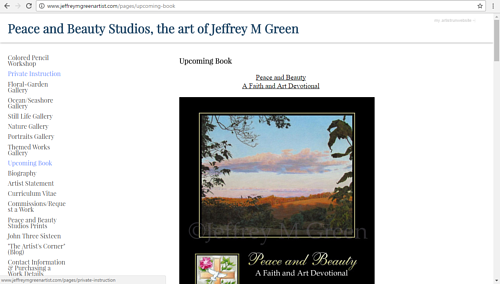 A screen capture of Jeffrey M. Green's upcoming book on his portfolio