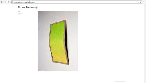 The front page of Sean Sweeney's art website