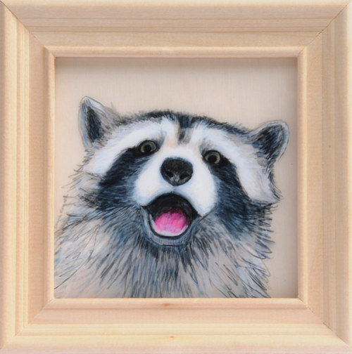 A drawing of a happy raccoon