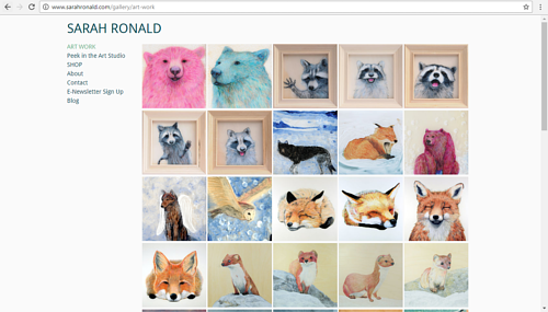 A screen capture of Sarah Ronald's online art portfolio