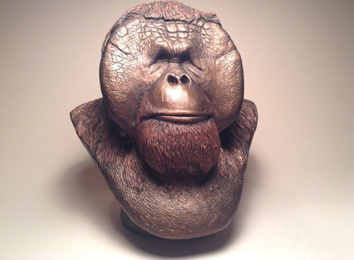A sculpture of Christopher, an ape from the Center for Great Apes
