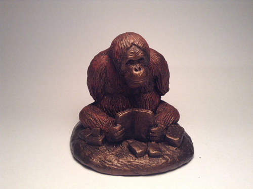 A sculpture of Mari from the Center for Great Apes