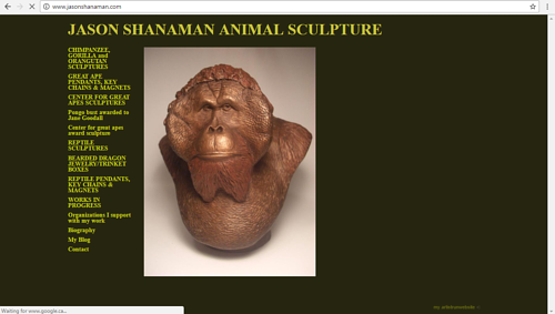 A screen capture of Jason Shanaman's art website