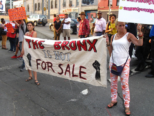 Some protestors affiliated with The Bronx is Not for Sale
