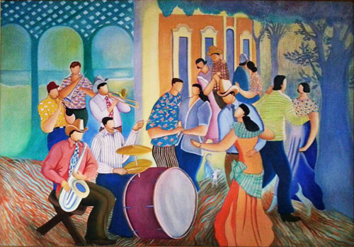 A painting of a group of people dancing