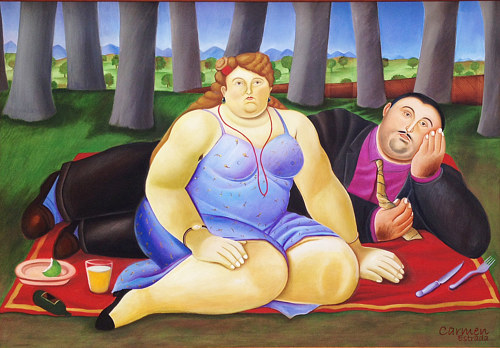 A painting of a couple reclining on a picnic blanket
