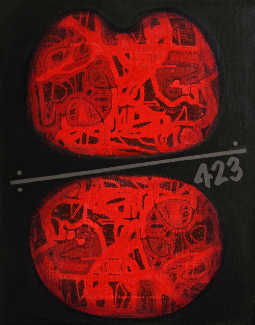 A painting of two red blobs with abstracted forms within