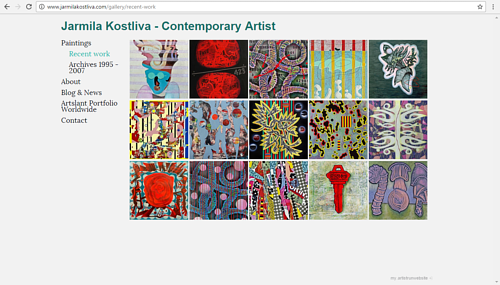 A screen capture of Jarmila Kostliva's online art portfolio