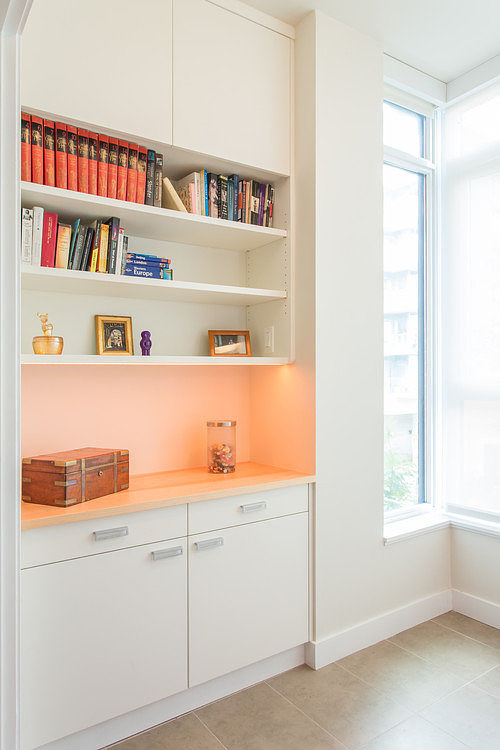 A modern built-in shelving unit