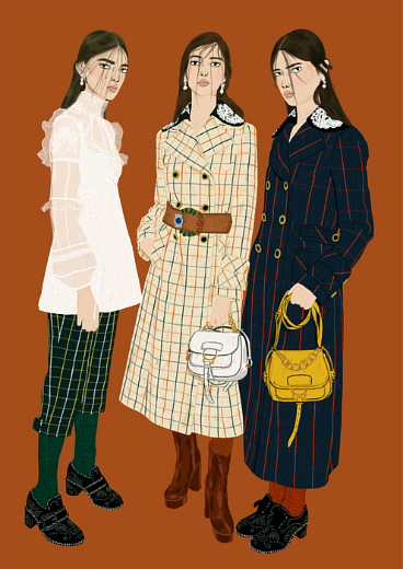 A fashion illustration by Manjit Thapp for Miu Miu