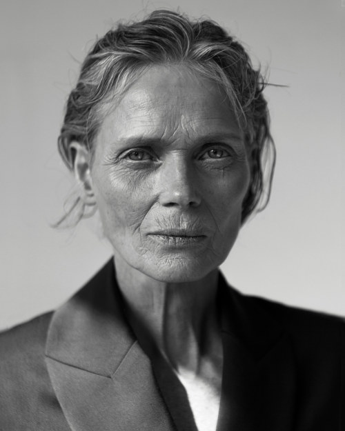 A portrait of an older woman in black and white