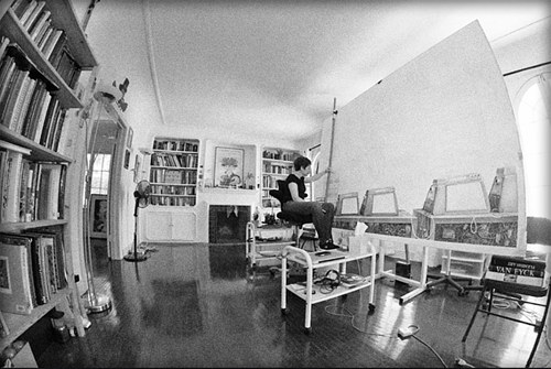 A photograph of Laurie Lipton at work in her studio