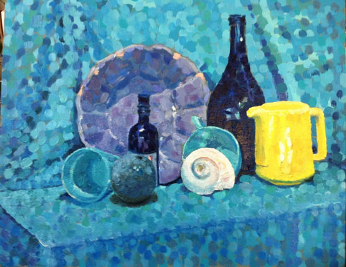 A still-life painting of shells on a blue backdrop