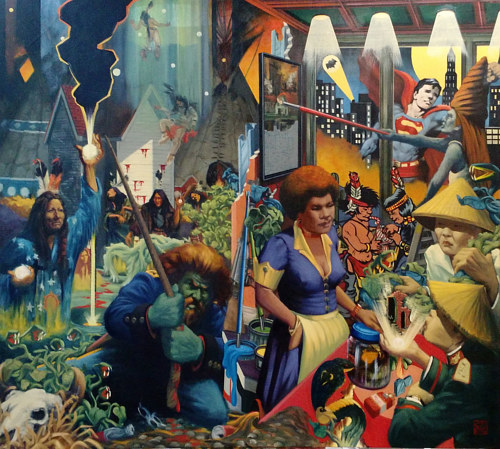 A surreal painting including numerous figures and backgrounds