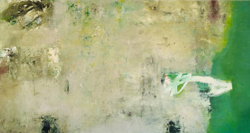 A mixed media painting of abstract white and green fields