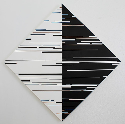 An enamel painting of black and white forms interacting
