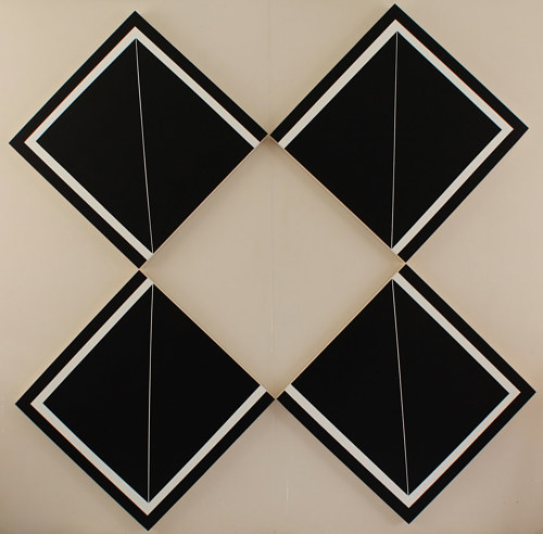 A photo of a painting over four identical panels arranged into a diamond shape