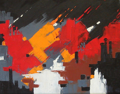 An abstract painting that appears to depict a bombing