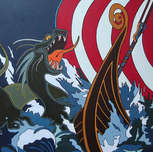 A painting of a dynamic scene from Norse mythology