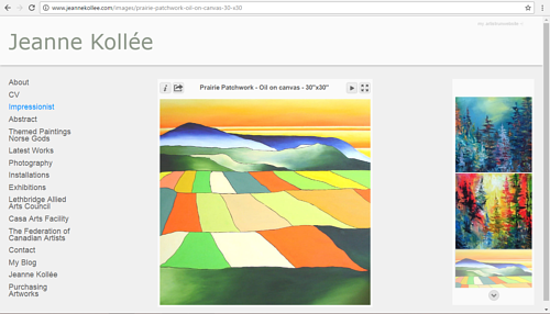 A screen capture of Jeanne Kollee's art website