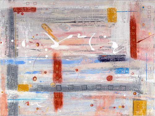 An abstract painting made with mixed media on a neutral background