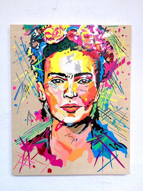 An image of Frida Kahlo made entirely from adhesive tape