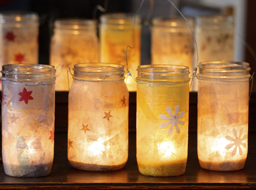 A photo of mason jars turned into lamps