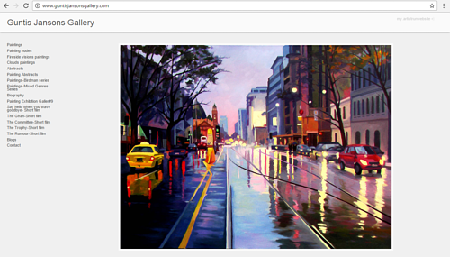 A screen capture of the front page of Guntis Jansons' art website