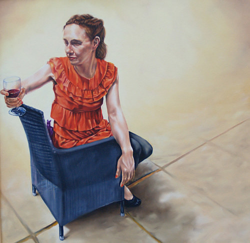 A painting of a woman sitting in a chair and holding a glass of wine