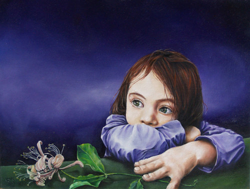 A painting of a young girl holding a honeysuckle flower