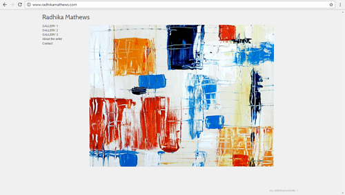 A screen capture of Radhika Matthews' art website