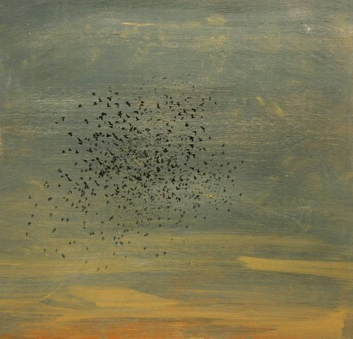 flock of birds painted on subdued background