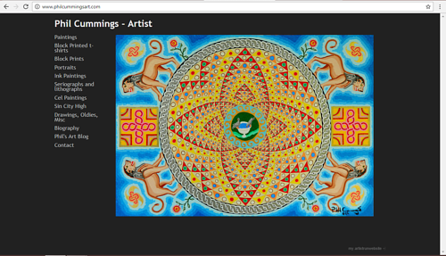 A screen capture of Phil Cummings' art website
