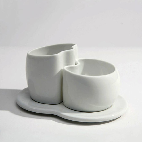 A modern porcelain cream and sugar set