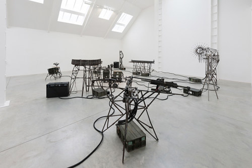 An installation consisting of musical instruments made from decommissioned weapons