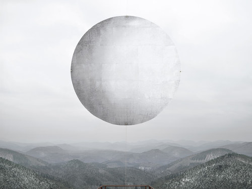A photographic image made with an alien sphere sitting in a landscape