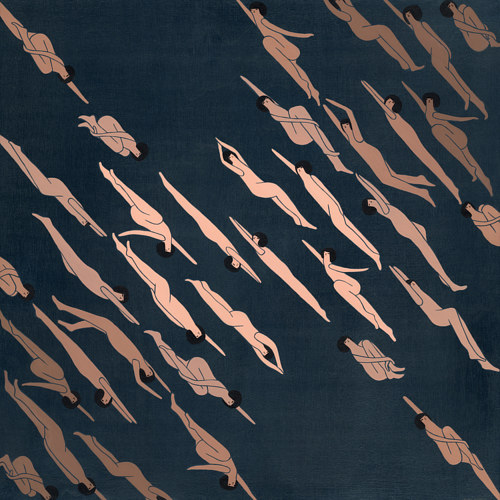 A painting patterned with similar naked human figures