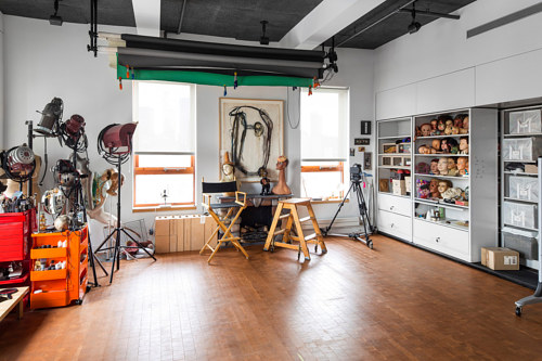 A photograph of the interior of Cindy Sherman's studio