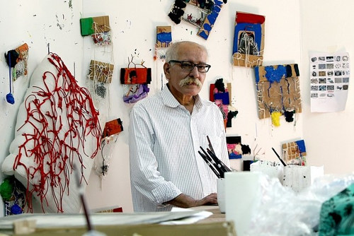A photograph of the late Hassan Sharif in his studio