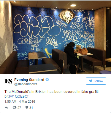An instagram image of graffiti art in a McDonald's