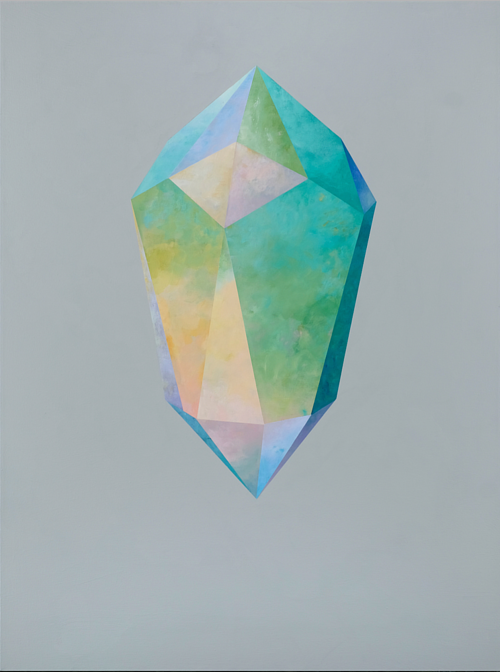 A painting of a crystal on negative space