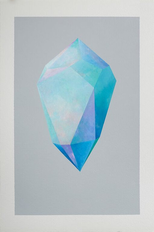 A painting of a blue crystal on grey paper