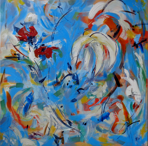 a painting with blue and white hues
