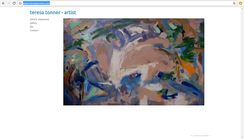 A screen capture of Teresa Tonner's art website