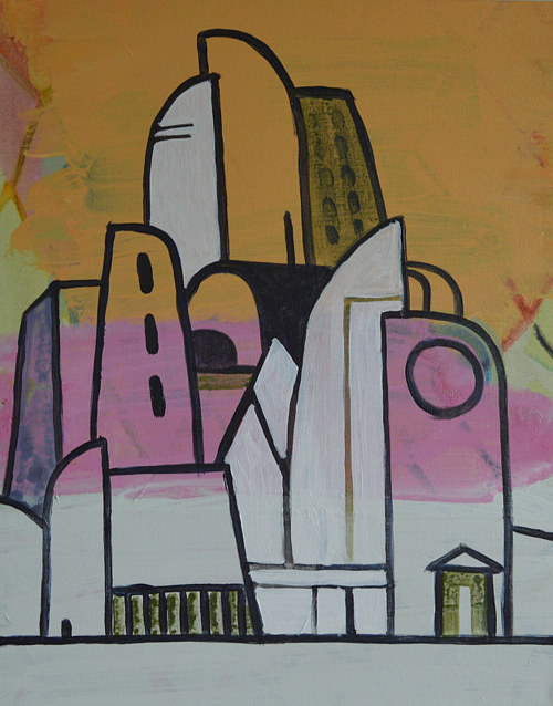 An abstracted painting of architectural forms