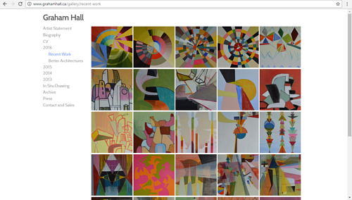 A screen capture of Graham Hall's gallery of recent work
