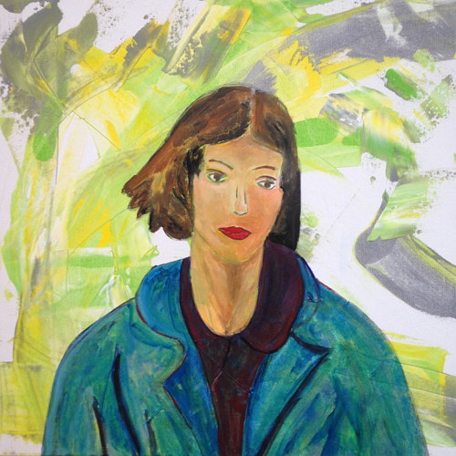 A painting of a young woman in a blue jacket