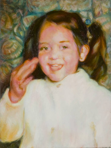 Painting of a child eating a cookie