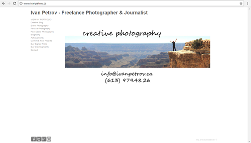 A screen capture of Ivan Petrov's photography website