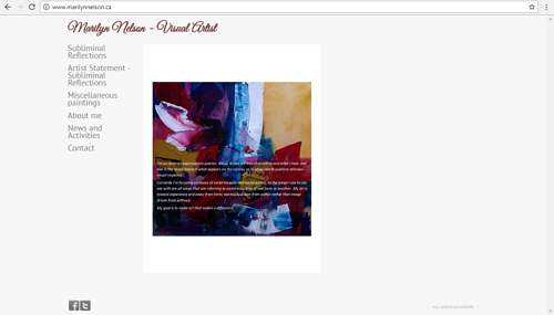 The front page of Marilyn Nelson's art website